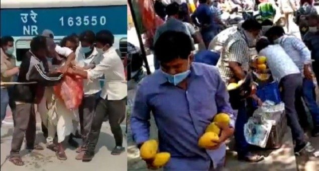 After Hungry Migrant Laborers Scramble for Biscuits at Bihar Railway Station, Passers-by Loot Mangoes on Delhi Road